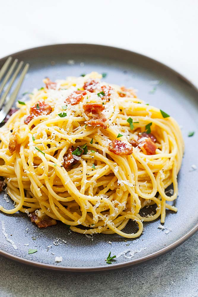 Spaghetti carbonara on a plate with a fork, ready to be served.