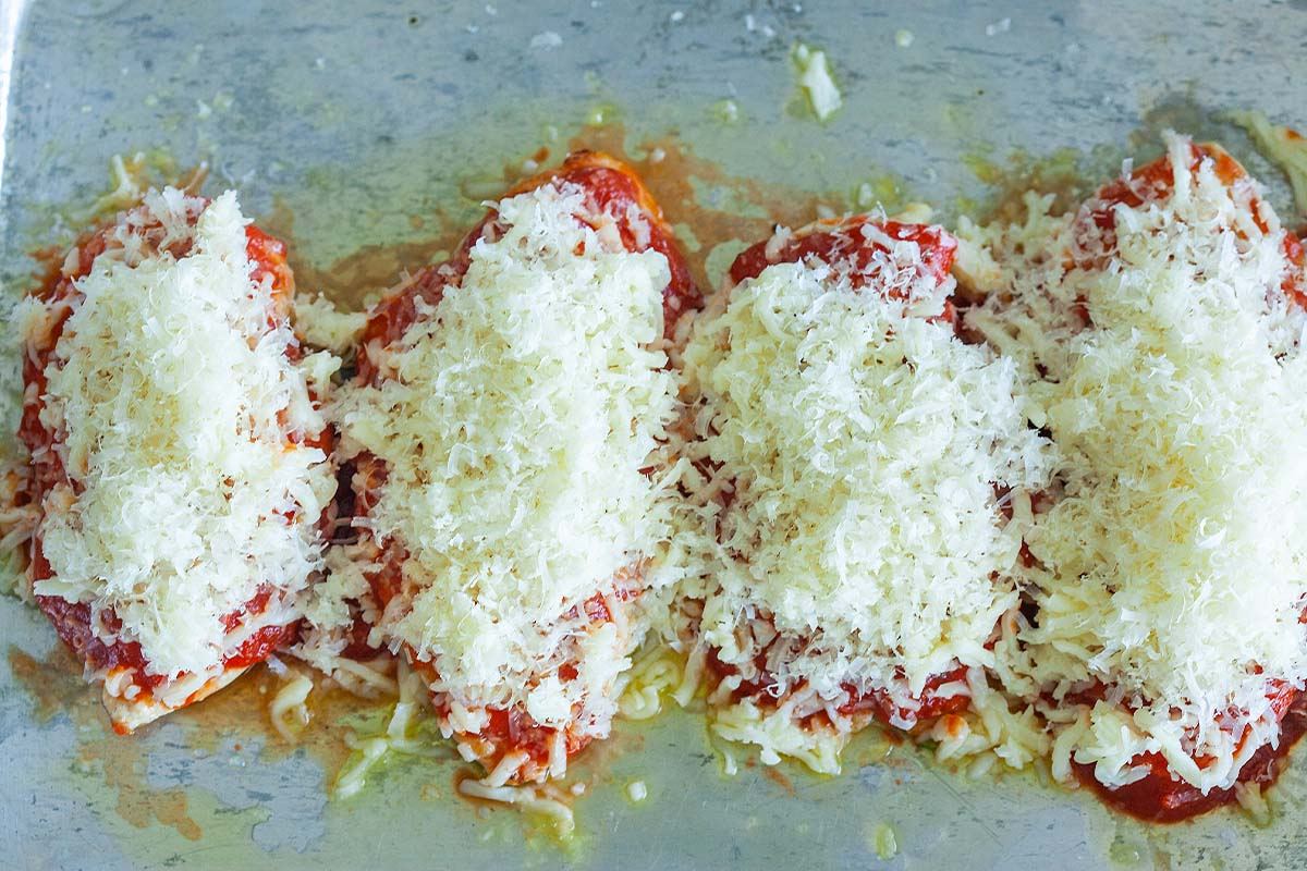 Chicken with parmesan on top.